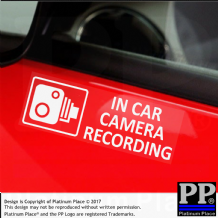 5 x EXTERNAL Small In Car Camera Recording Window Stickers-87mmx30mm-CCTV Sign-Van,Lorry,Truck,Taxi